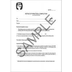 NOTICE OF PRACTICAL COMPLETION (PAD 50)