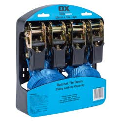 OX RATCHET STRAP TIE DOWN 350KG PACK OF 4