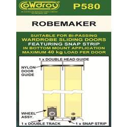ROBEMAKER WARDROBE TRACK SLIDING 3 DR 2420MM WHITE