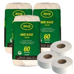 3 X NHS BASECOTE 60 20KG + 3 X 75M PAPER TAPE