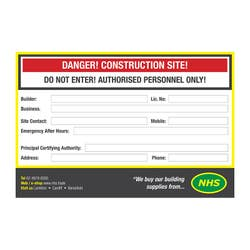 SAFETY SIGN SITE NHS 900 X 600MM