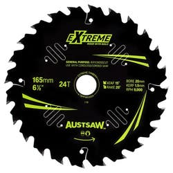 AUSTSAW EXTREME WOOD BLADE 165MM 24T