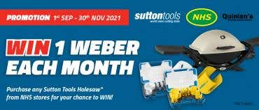 Buy a Sutton Tools Holesaw for a chance to win a Weber!